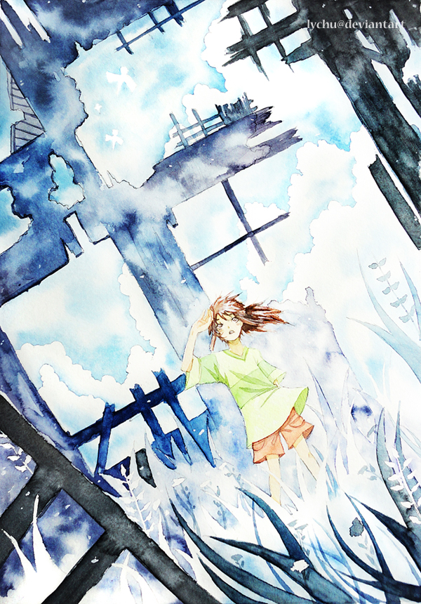 Tags: Anime, Lychu, Sen to Chihiro no Kamikakushi, Ogino Chihiro, Watercolor, deviantART, Mobile Wallpaper, Traditional Media, Fanart