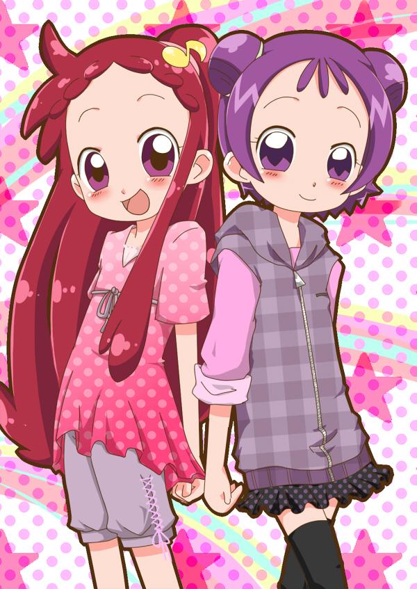 Tags: Anime, Pixiv Id 797335, Ojamajo DoReMi, Segawa Onpu, Harukaze Doremi, Hairstyle Switch, Mobile Wallpaper, Fanart, Magical Doremi