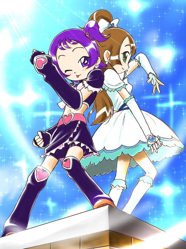 Tags: Anime, T-hiko, Ojamajo DoReMi, Futari wa Precure, Segawa Onpu, Ijuin Sachiko, Cure White (Cosplay), Cure Black (Cosplay), Pretty Cure Series (Parody), Fanart, Magical Doremi