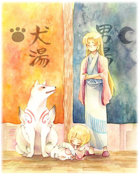 Tags: Anime, Pixiv Id 449047, Okami, Okami Den, Amaterasu, Chibiterasu, Ushiwakamaru (Okami), Kurow, Fanart From Pixiv, Fanart, Pixiv