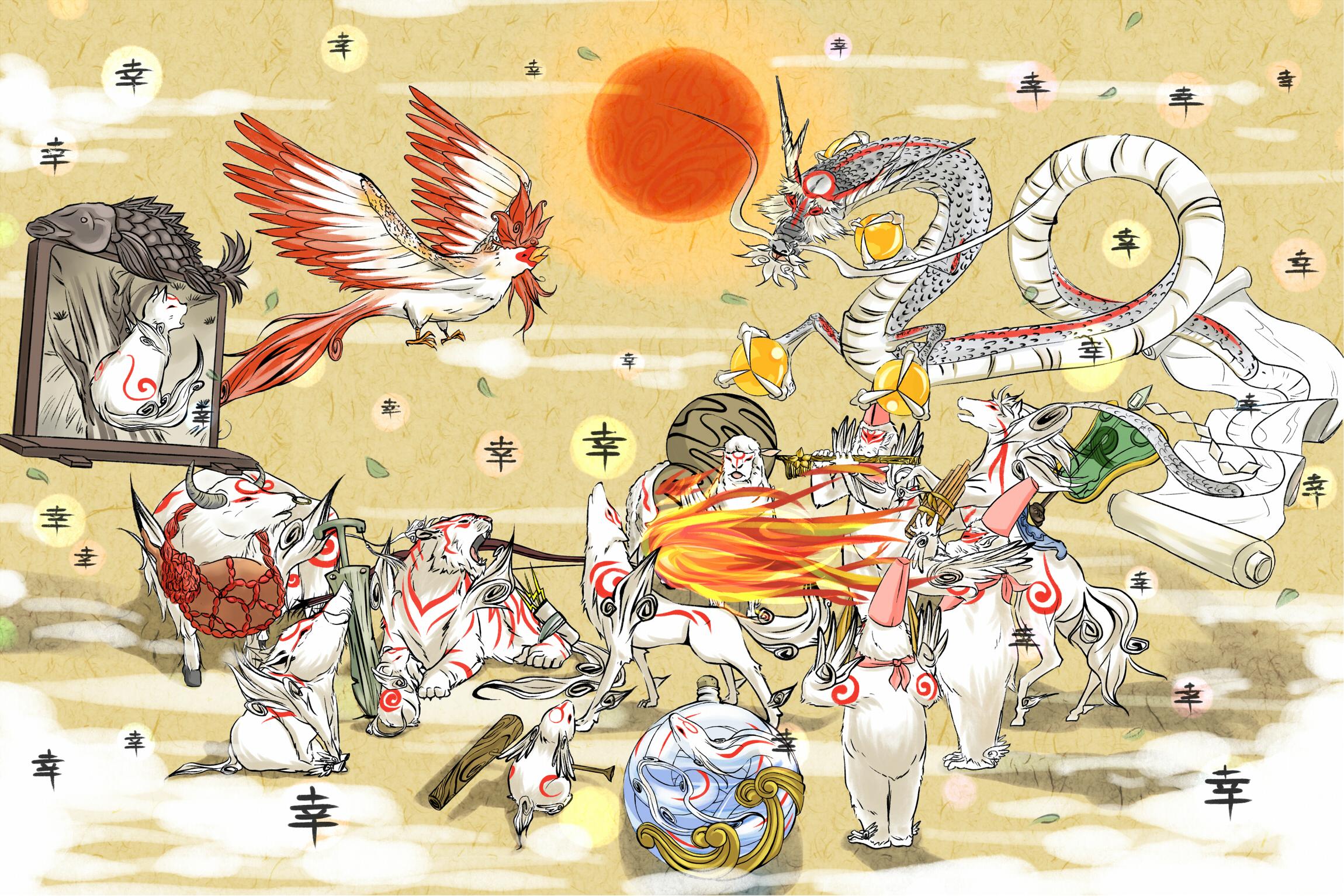 Tags: Anime, Pixiv Id 1395946, Okami, Tachigami, Kazegami, Tsutagami ...