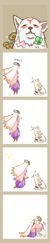 Tags: Anime, Pixiv Id 1332232, Okami, Ushiwakamaru (Okami), Amaterasu, Comic, Pixiv