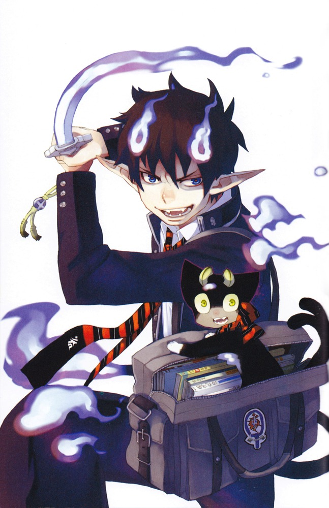 Tags: Anime, Katou Kazue, Ao no Exorcist, Okumura Rin, Kuro (Ao no Exorcist), Mobile Wallpaper, Official Art