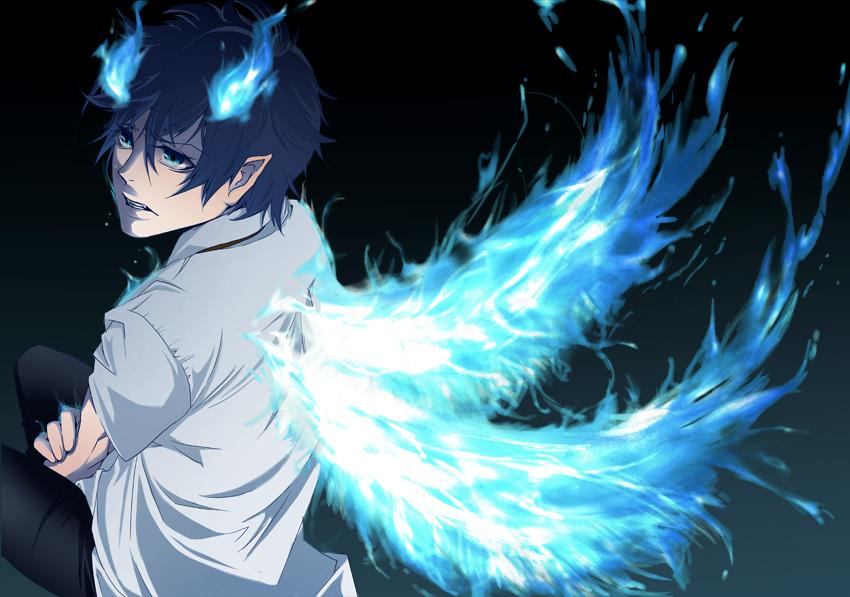 Картинки аниме синее пламя