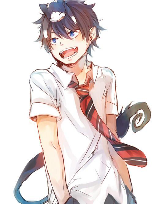 Tags: Anime, Ao no Exorcist, Kuro (Ao no Exorcist), Okumura Rin, Animal on Head