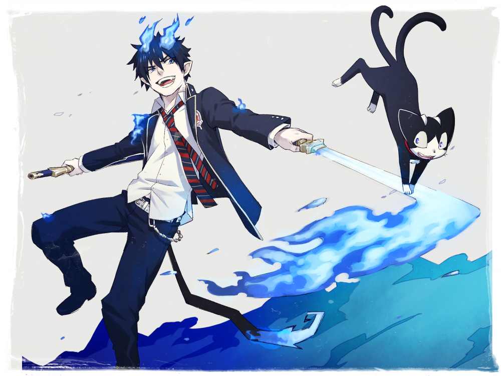 blue exorcist rin demon form wallpaper
