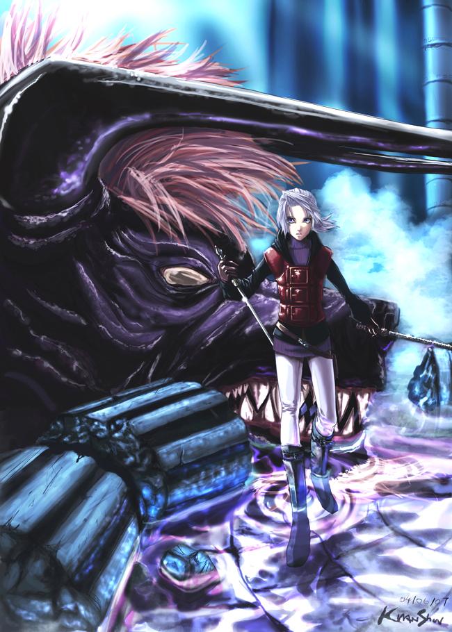 Tags: Anime, Final Fantasy III, Behemoth, Onion Knight, Luneth