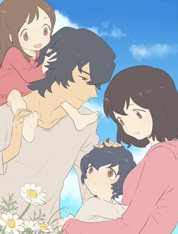 Tags: Anime, Pixiv Id 6620471, Ookami Kodomo no Ame to Yuki, Hana (Ookami Kodomo), Ookami Otoko, Ame (Ookami Kodomo), Yuki (Ookami Kodomo), Fanart, Fanart From Pixiv, Pixiv, The Wolf Children Ame And Yuki