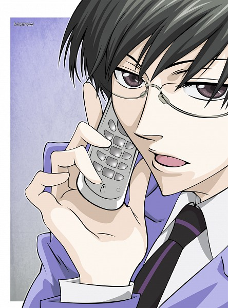 Tags: Anime, Morrow, Ouran High School Host Club, Ootori Kyoya, Cellphone, Teenager, White Border