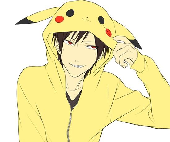 Tags: Anime, Pasta69, DURARARA!!, Orihara Izaya, Pokémon (Cosplay), Pikachu (Cosplay), Fanart, PNG Conversion, Izaya Orihara