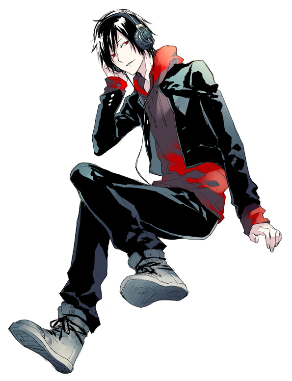 Tags: Anime, Fujino Akitsugu, DURARARA!!, Orihara Izaya, Hand on Headphones, Converse, Red Hoodie, Fanart From Pixiv, Pixiv, Fanart, Izaya Orihara
