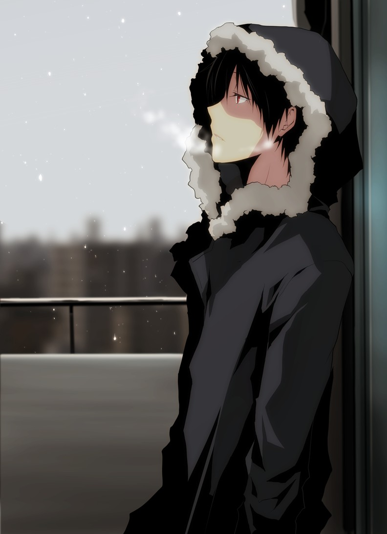 Anime Lonely Winter Sad  Black  Lonely  Winter