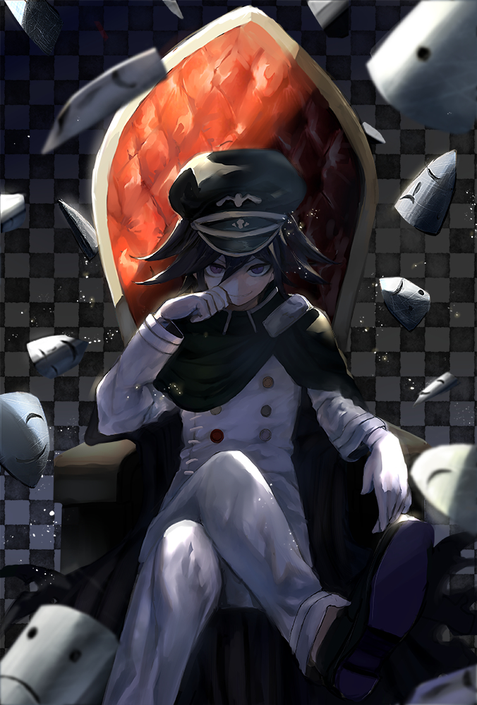 Tags: Anime, Samenasi, New Danganronpa V3, Ouma Kokichi, Sitting On Throne, Throne, Black Cape, Fanart, Mobile Wallpaper, Fanart From Pixiv, PNG Conversion, Pixiv