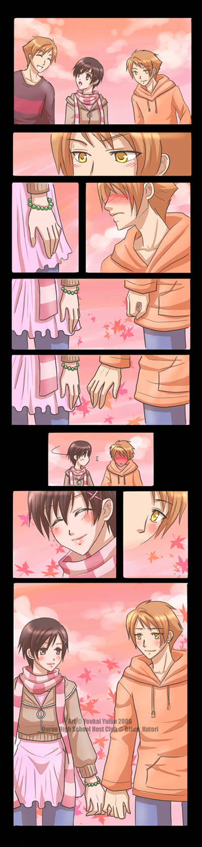 Tags: Anime, Youkai Yume, Ouran High School Host Club, Hitachiin Kaoru, Fujioka Haruhi, Hitachiin Hikaru, deviantART, Comic