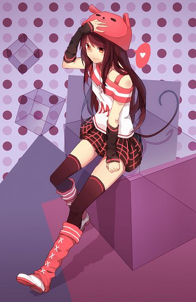 Tags: Anime, Ovos (Artist), Knee Boots, Spotted Background, Spotted, Multi-colored Eyes