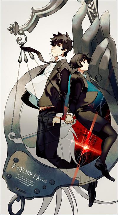 Tags: Anime, Agetaiyaki, PSYCHO-PASS, Tsunemori Akane, Kougami Shinya, Pixiv, Fanart, Mobile Wallpaper, Fanart From Pixiv