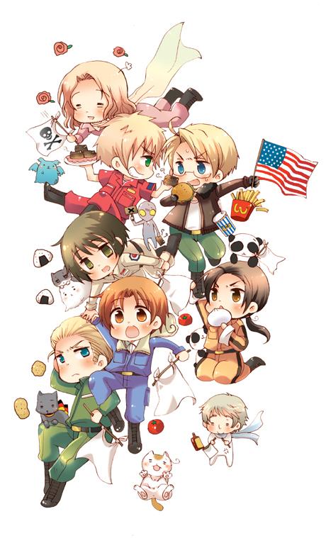 Tags: Anime, hokkekan, Axis Powers: Hetalia, Germancat, United Kingdom, Flying Mint Bunny, China, Pochi-kun, United States, France, Tonni, Germany, Japancat, Hetalia Axis Powers: Paint It, White!