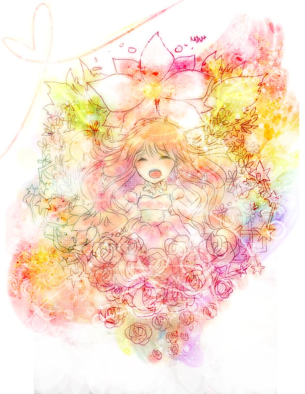 Tags: Anime, Herb, VOCALOID, Megurine Luka, Watercolor, Fanart, Traditional Media, Pixiv, Palette (Song), PNG Conversion