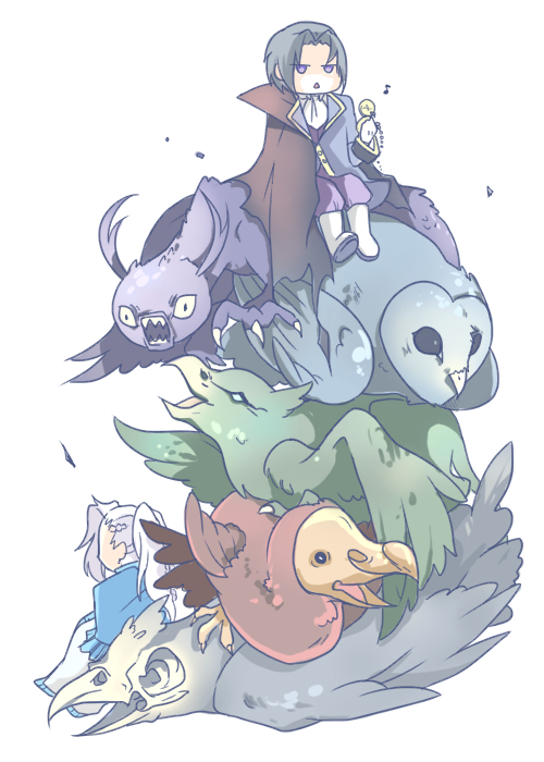 Tags: Anime, Wavewhisper, Pandora Hearts, Jabberwock, Gryphon (Chain), Revis Baskerville, Dodo (Chain), Oswald Baskerville, Raven (Chain), Owl (Chain), Dodo (Bird), Fanart, PNG Conversion