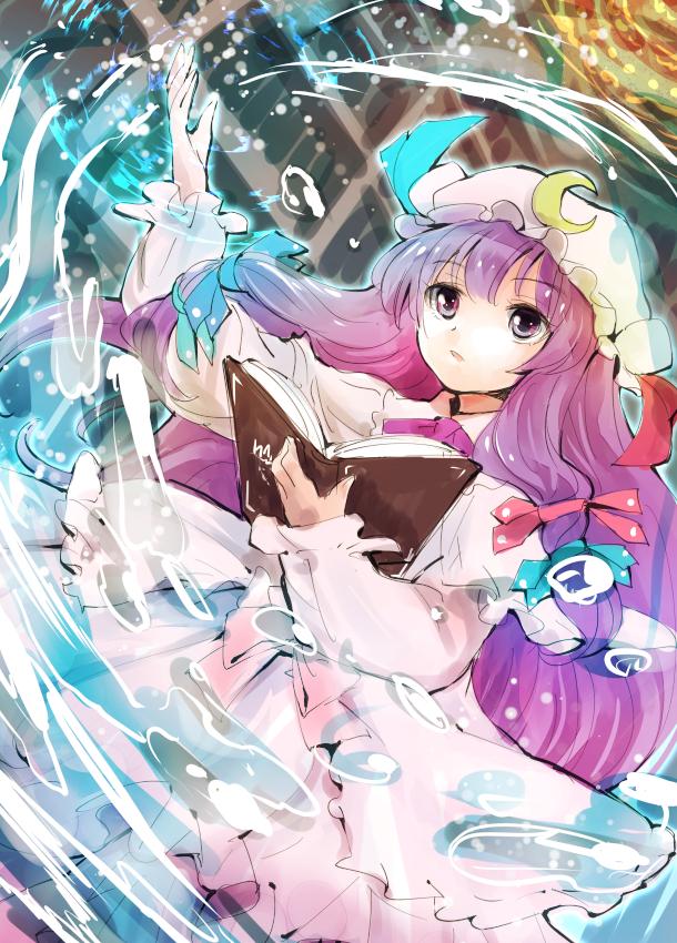 Tags: Anime, Makuwauri, Touhou, Patchouli Knowledge, Using Magic, Mobile Wallpaper, Fanart, Fanart From Pixiv, Pixiv