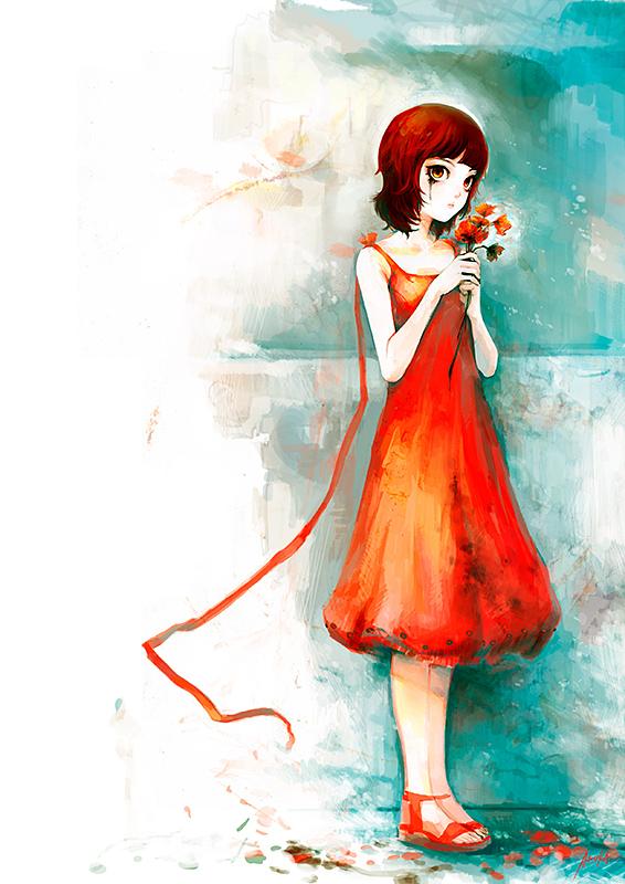 Tags: Anime, Patipat Asavasena, Make Up, Orange Dress, Orange Outfit