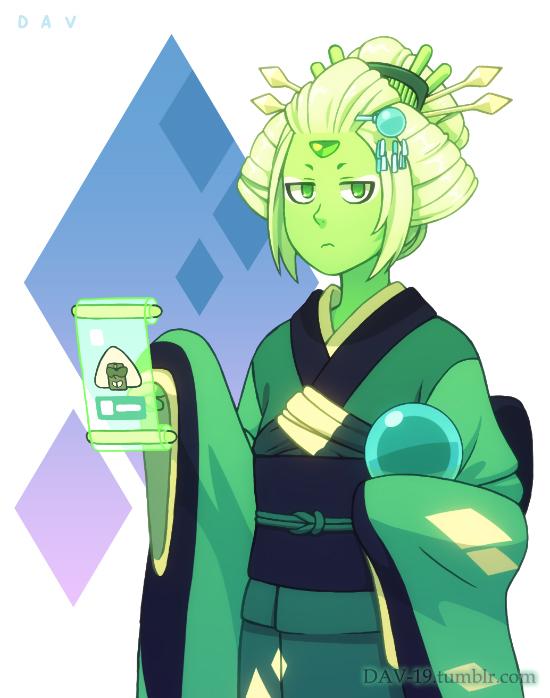 Tags: Anime, DAV-19, Steven Universe, Peridot (Steven Universe), Sphere, Orb, Green Gem, Tumblr, Fanart