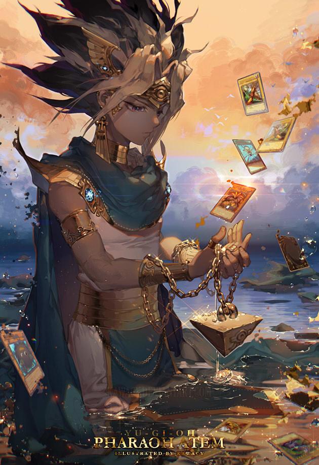 Tags: Anime, kawacy, Yu-Gi-Oh!, Yu-Gi-Oh! Duel Monsters, Kuriboh, Yami Yugi, Dark Magician, Pharaoh Atem, Exodia, Egyptian Clothes, Ankh (Object), Fanart From Pixiv, Pixiv