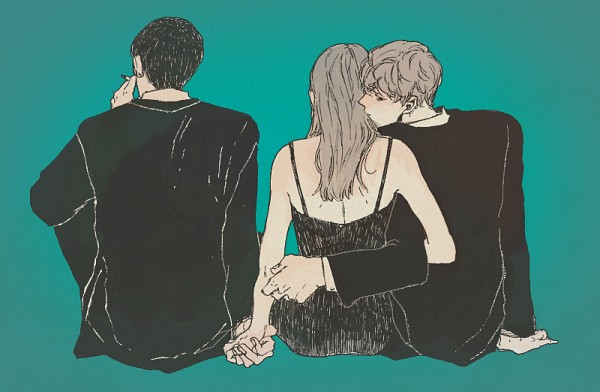 Tags: Anime, Pharmacy ( Pixiv Id 2112290 ), Looking Away, Aqua Background, Cigarette, Kiss On The Neck, Bench