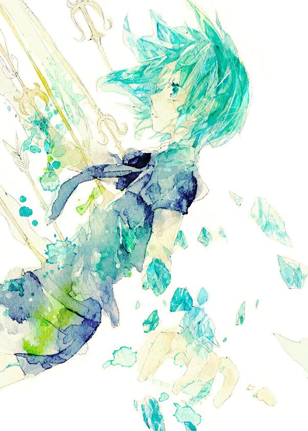 Tags: Anime, Reiri, Houseki no Kuni, Phosphophyllite (Houseki no Kuni), Run Through, Pixiv, Fanart, Mobile Wallpaper, Fanart From Pixiv, Watercolor, Traditional Media