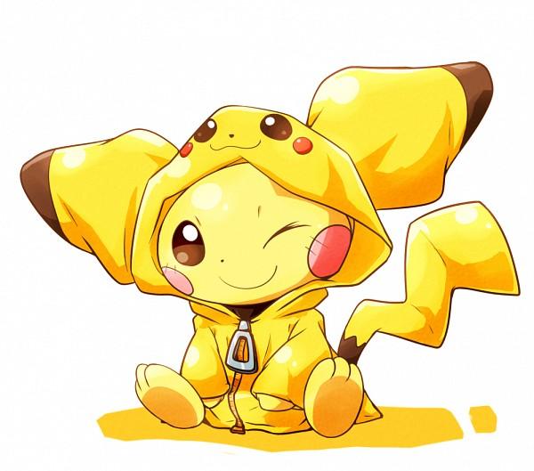 Tags: Anime, Pixiv Id 510253, Pokémon, Pichu, Pikachu (Cosplay), Hood Up, Sitting on Floor