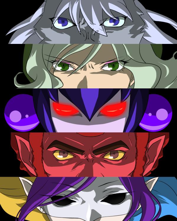 Tags: Anime, Pixiv Id 3218263, Smile Precure!, Joker (Smile Precure), Wolfrun, Pierrot (Smile Precure!), Akaooni, Majorina, Red Skin, Pixiv