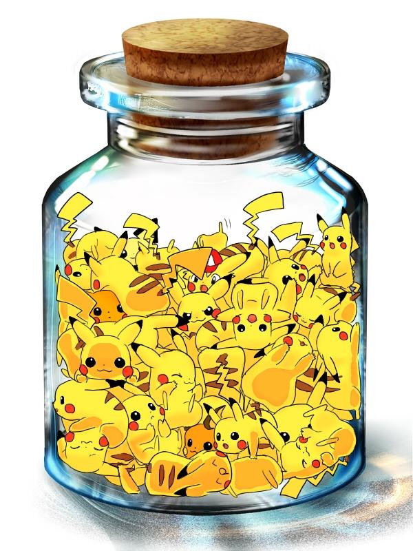 Tags: Anime, Pokémon, Pichu, Raichu, Satoshi (Pokémon), Pikachu, In a Bottle, Pixiv Bottle, Wallpaper, Shiny Pokémon, Pixiv