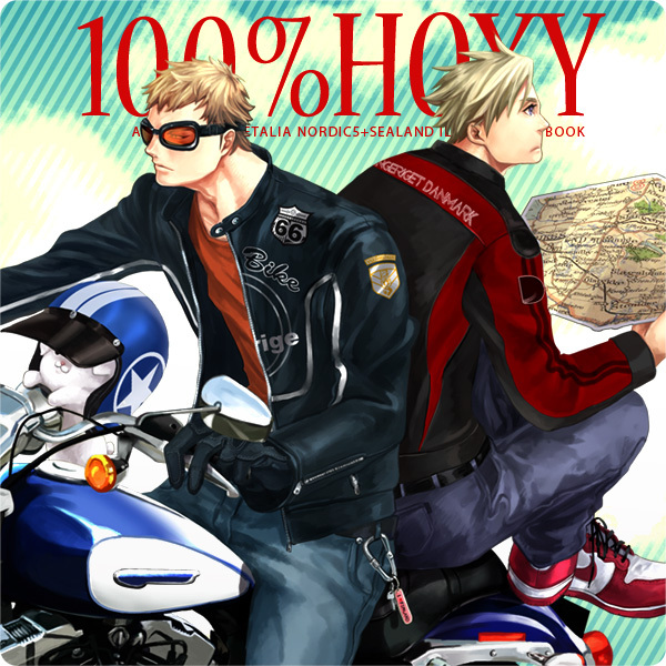 Tags: Anime, Ypyp, Axis Powers: Hetalia, Pixiv 100% Hoxy, Sweden, Denmark, Leather Jacket, Map, Pixiv, Fanart, Nordic Countries