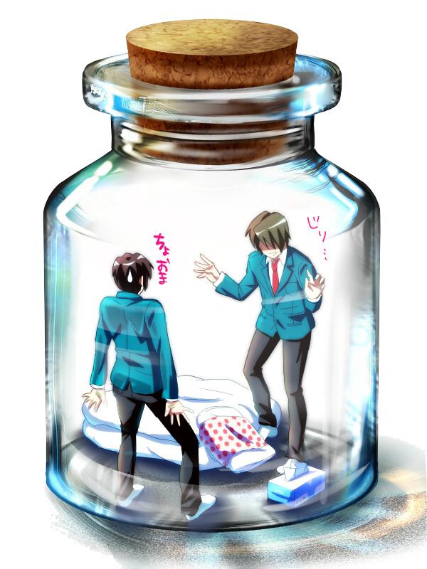 Tags: Anime, Nishisaki, Suzumiya Haruhi no Yuuutsu, Koizumi Itsuki, Kyon, In a Bottle, Pixiv Bottle, Wallpaper, Pixiv