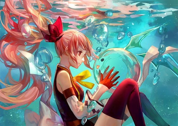 Tags: Anime, Asukaziye, Underwater, Bubble, Water Bubbles, Water Droplets