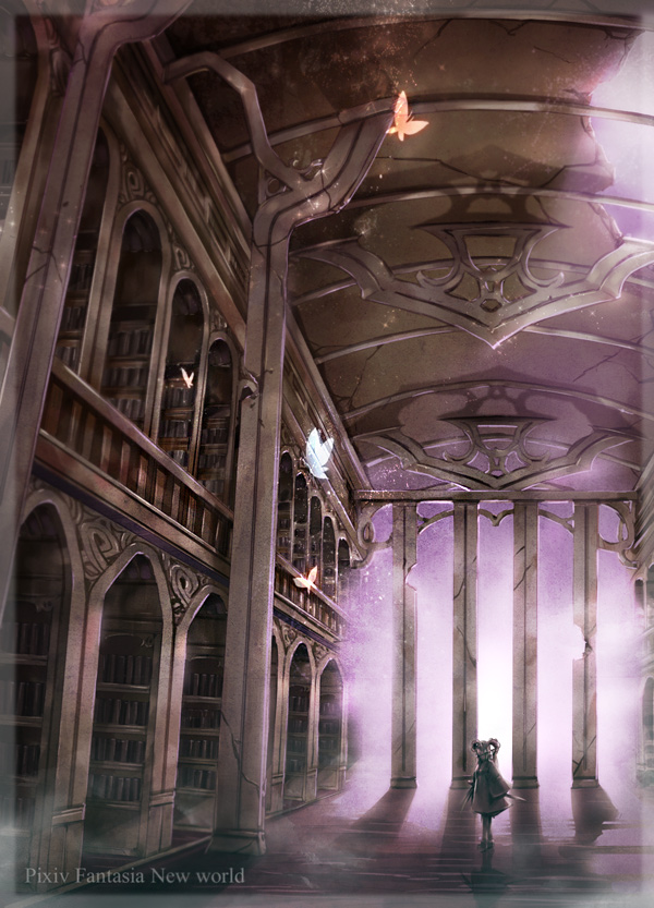 Tags: Anime, Himeichiko, Library, Hallway, Pixiv, Mobile Wallpaper, Original, Pixiv Fantasia: New World, Pixiv Fantasia
