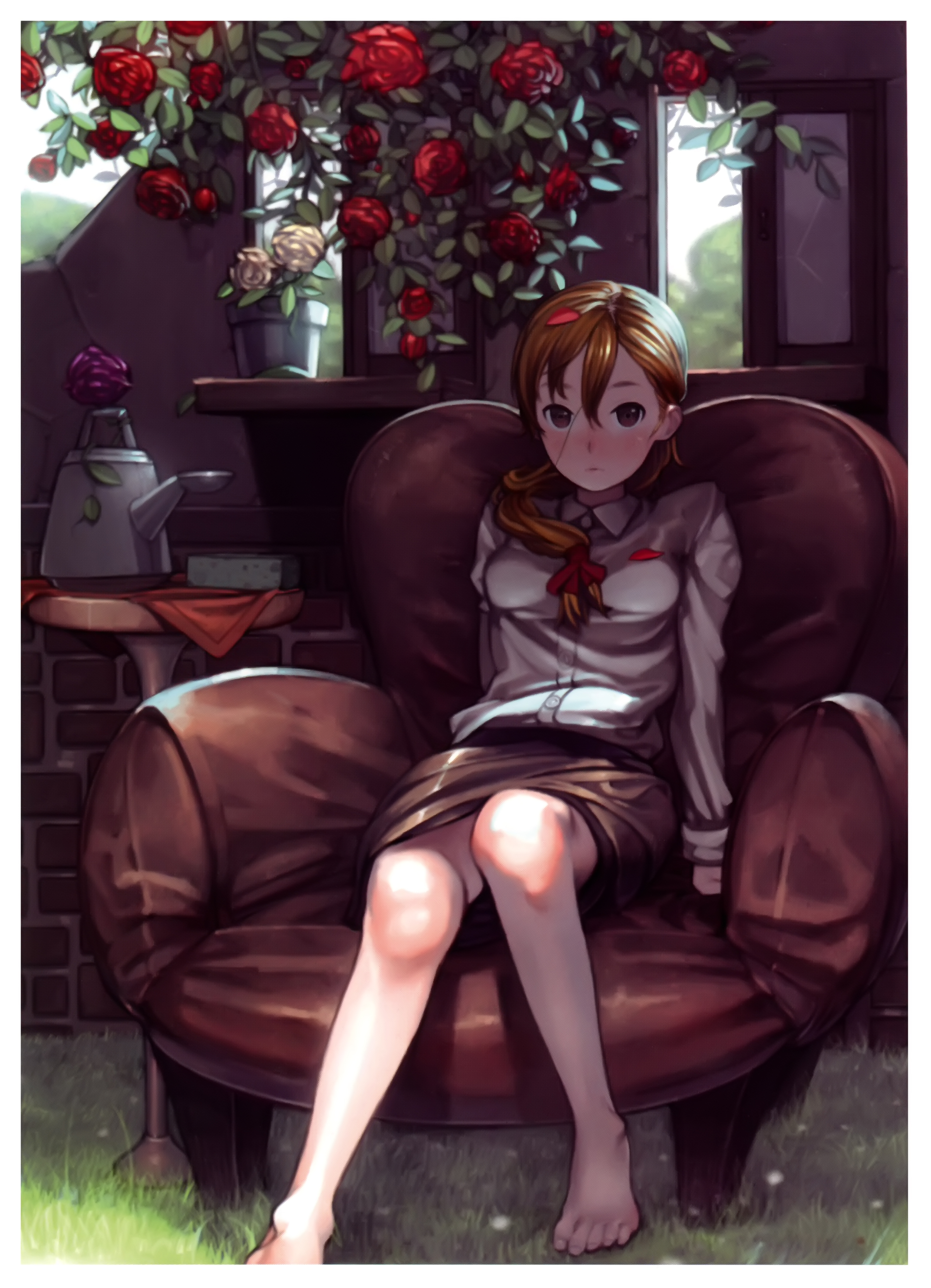 Anime Sitting On Chair Pixiv Girls Col...