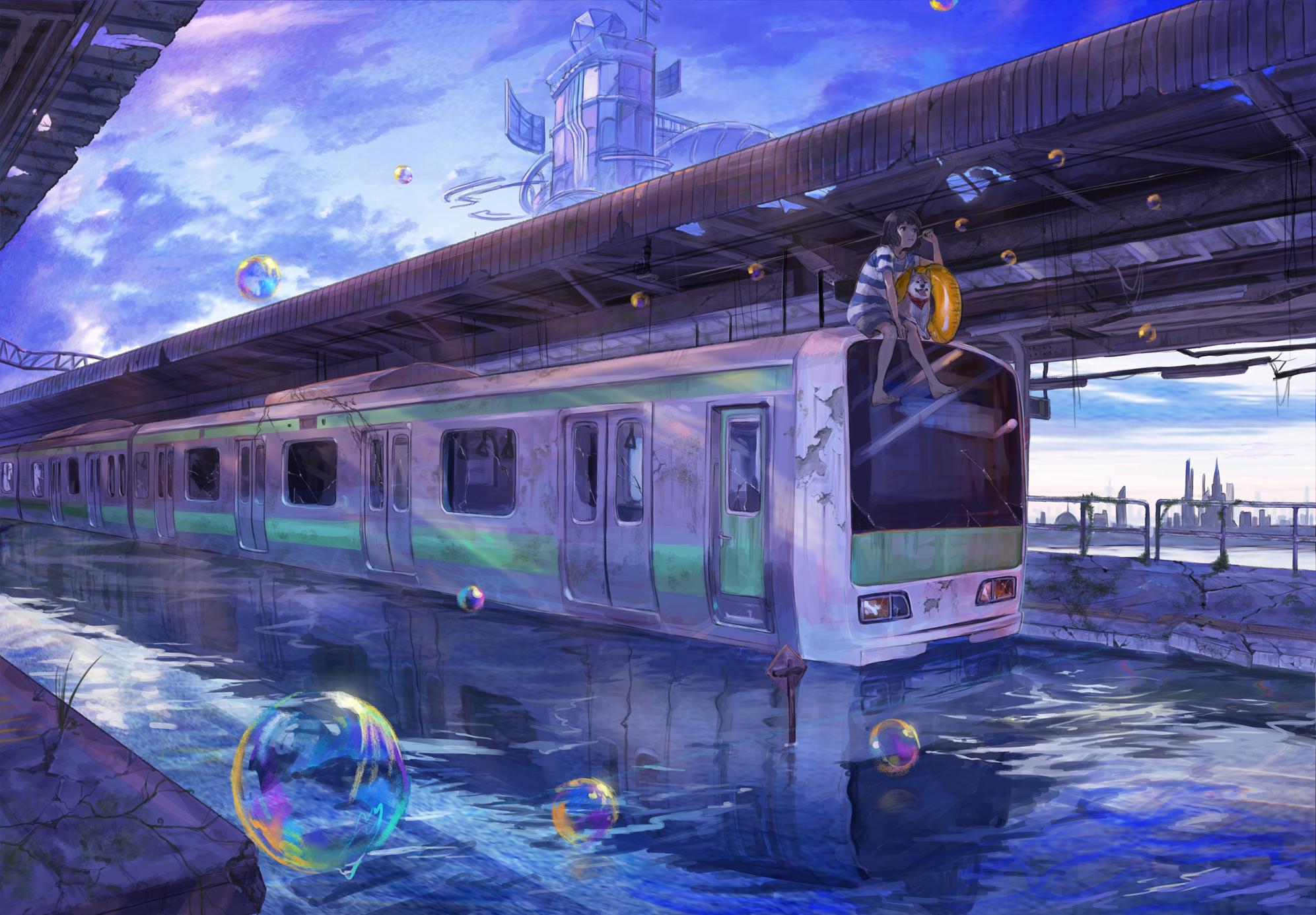 Wallpaper : city, anime girls, short hair, metropolis