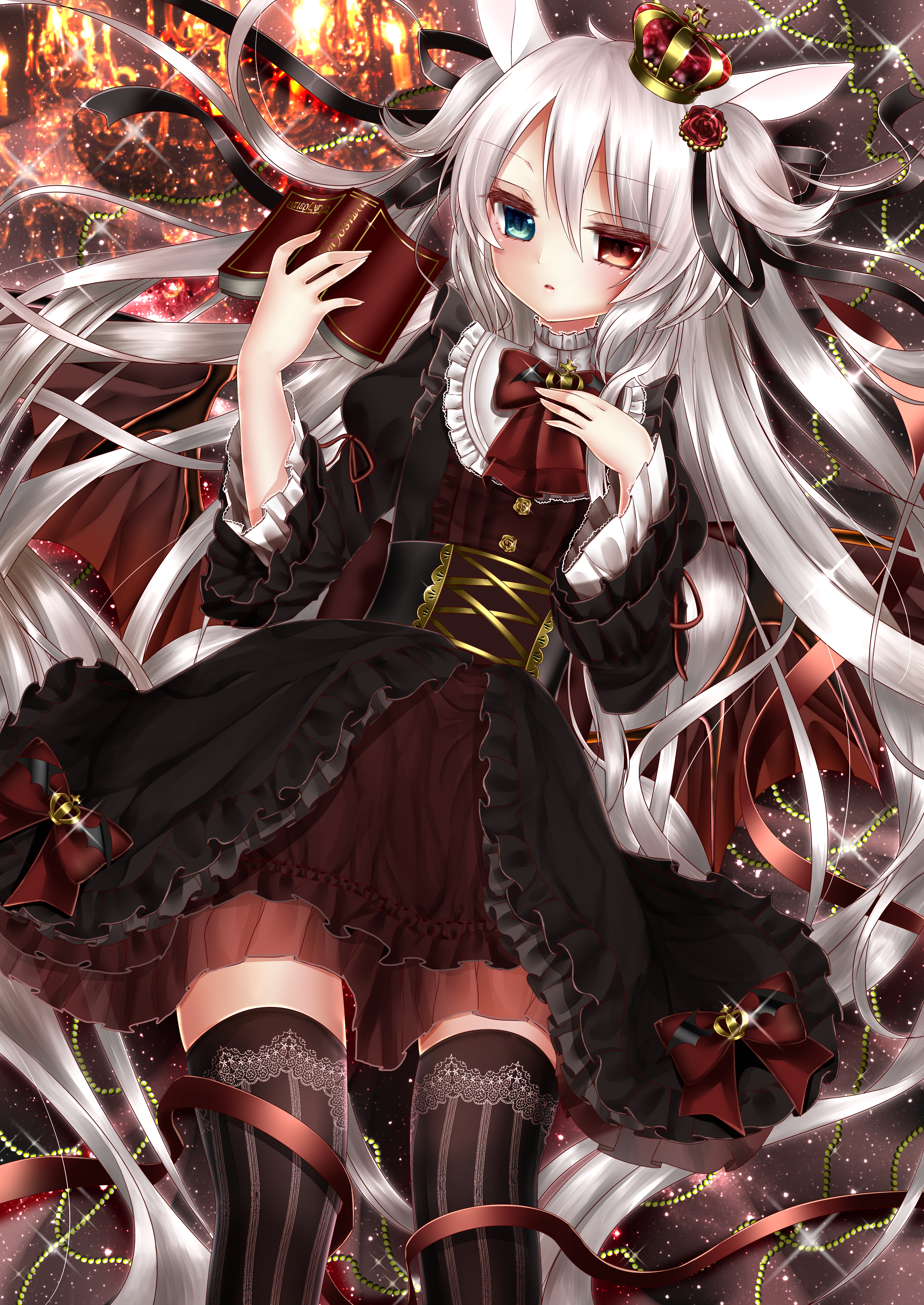 anime girl with silver hair and red eyes