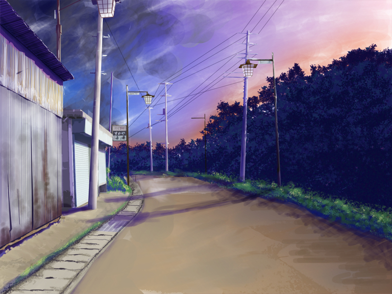 Картинка аниме улица ночью
