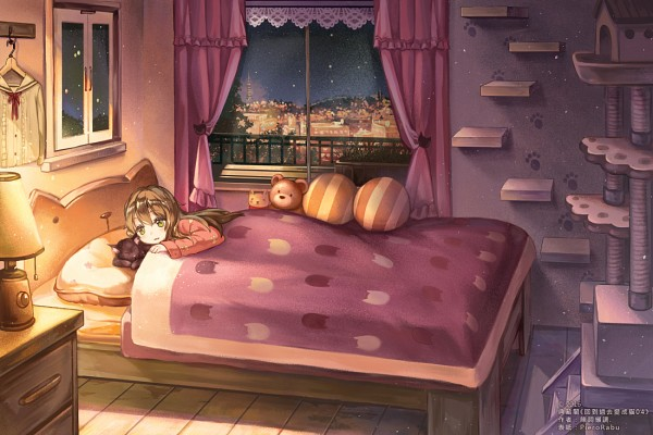 Tags: Anime, Pixiv Id 2680940, Black Furred Animal, Table, Laying on Bed, Curtain, Window