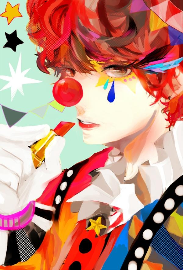 Tags: Anime, Pixiv Id 3151396, Afro, Pennant, Clown, Lipstick Tube, Mobile Wallpaper, Original, Pixiv
