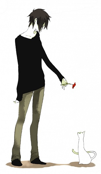 Tags: Anime, Pixiv Id 330141, Unnaturally White Skin, Black Shirt, Gray Pants, White Cat, Red Flower