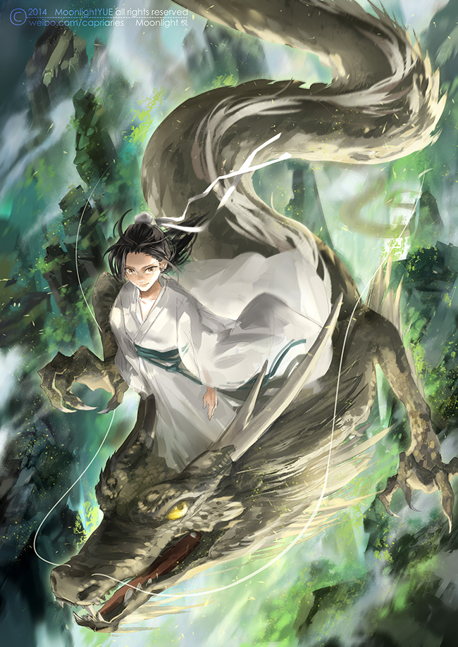 Tags: Anime, Pixiv Id 3400554, Dragon Riding, Chinese Dragon, Pixiv, Mobile Wallpaper, Original