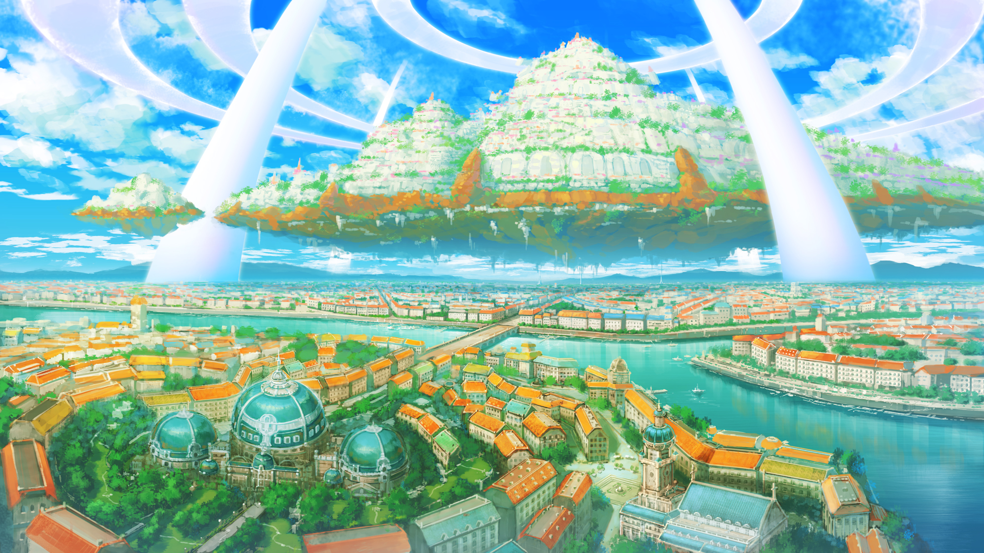 Tags Anime Pixiv Id 3517451 Floating Island Wallpaper Facebook Cover