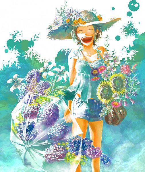 Tags: Anime, Pixiv Id 540104, Sunflower, Yellow Flower, Summer, Hat Flower, Pink Flower