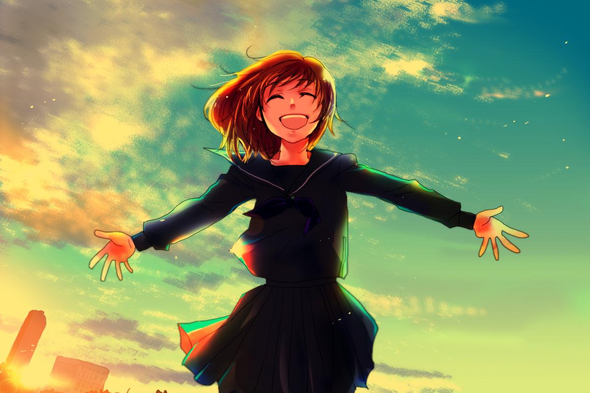 Картинки аниме девушка счастливая