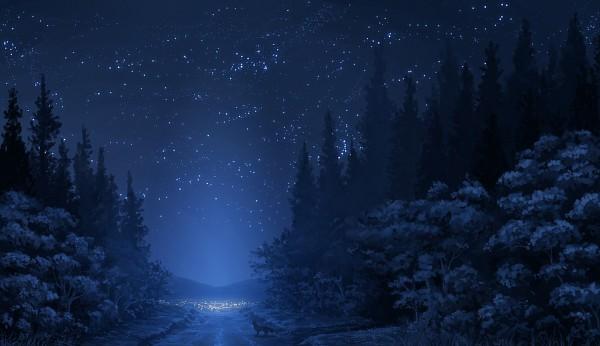 Tags: Anime, Pixiv Id 843118, Nature, City, Wolf, Blue, Street
