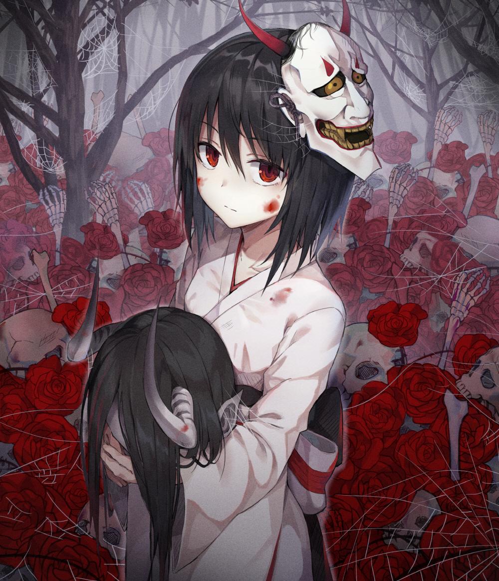 Tags Anime Pixiv Id 9212166 Spider Web Skeleton Arm Oni Mask