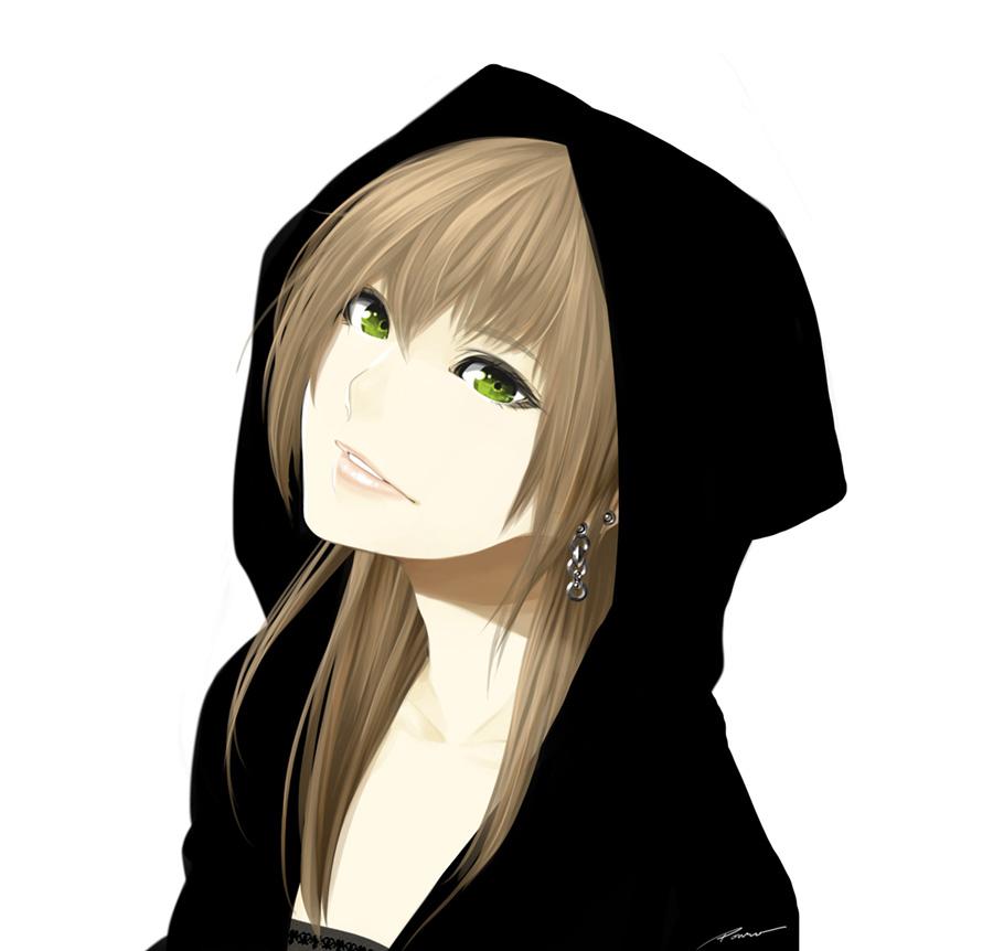 Anime girls with hoodies
